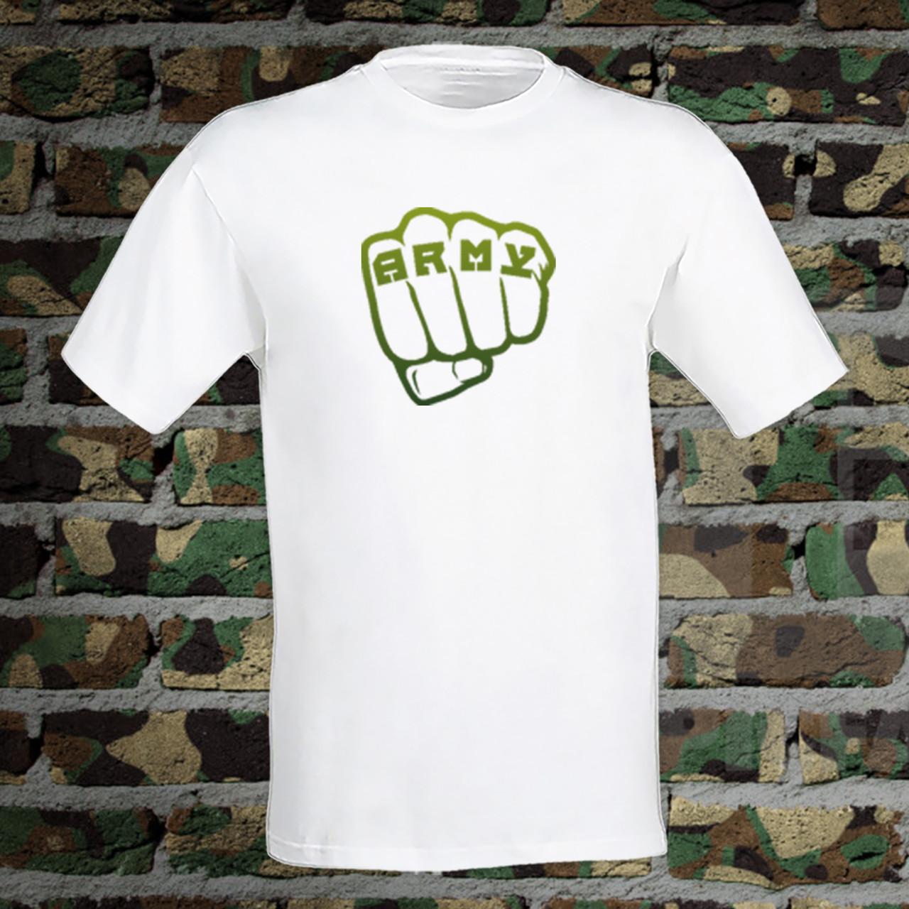 """Чоловіча футболка для військового з принтом Кулак """"ARMY"""" Push IT S, Білий"""