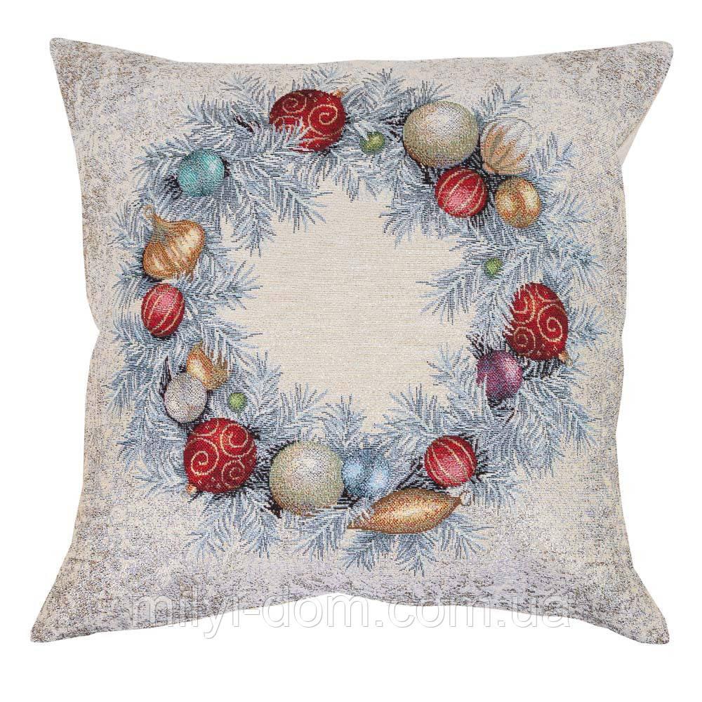"""Декоративна одностороння наволка """"Квітчасте різдво"""", гобелен, люрекс. 45*45 см"""