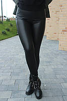 Лосины женские утеплённые черные экокожа на велюре №9175