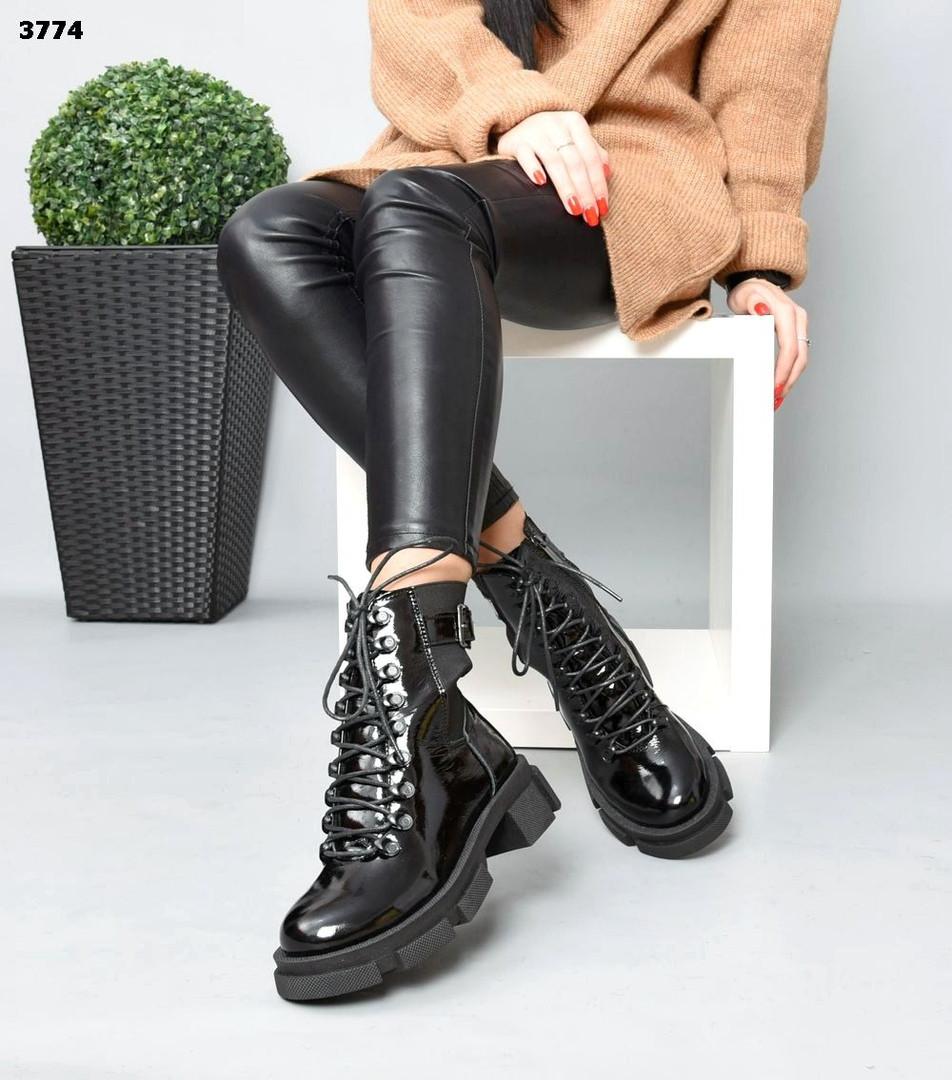 Зимние женские черные ботинки, натуральная лакированная кожа