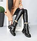 Зимние женские черные ботинки, натуральная лакированная кожа, фото 3