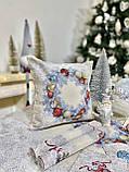 """Декоративна одностороння наволка """"Квітчасте різдво"""", гобелен, люрекс. 45*45 см, фото 3"""