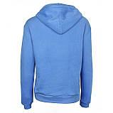 Голубые худи однотонные с карманом хорошего качества женское голубое худи с капюшоном, фото 2