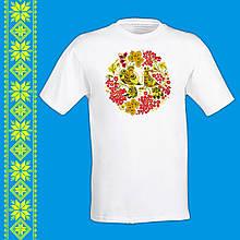 """Мужская футболка - вышиванка  с принтом """"Украинский узор: птицы и калина"""" Push IT"""