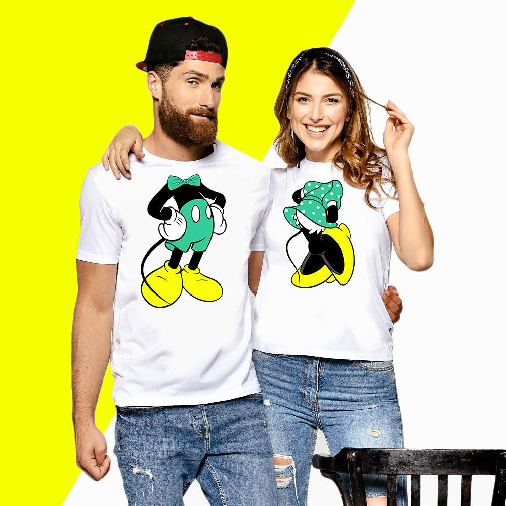 Парні футболки з принтом Мінні і Міккі Маус Push IT XS, Білий