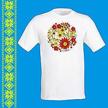 """Мужская футболка - вышиванка  с принтом """"Цветочный орнамент"""" Push IT Белый"""
