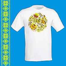 """Мужская футболка - вышиванка  с принтом """"Птицы и украинский орнамент"""" Push IT Белый"""