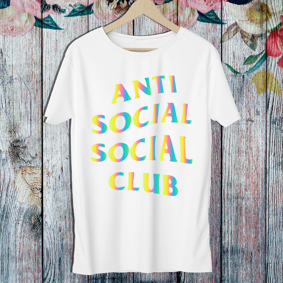 """Чоловіча футболка з написом """"Anti Social Social Club"""" (кольорова) Push IT S, Білий"""