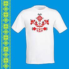 """Мужская футболка - вышиванка  с принтом """"Украинским орнамент (красный)"""" Push IT Белый"""
