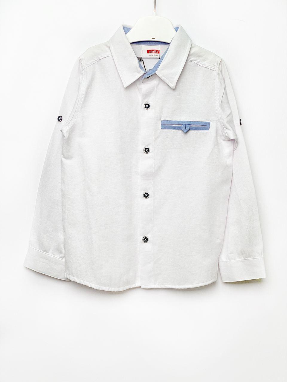 Белая рубашка для мальчика, размеры  2/3, 3/4, 5/6, 6/7 л.