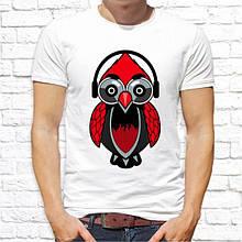 Мужская футболка с принтом Филин в наушниках Push IT