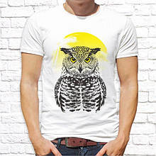 Мужская футболка с принтом Сова и солнце Push IT