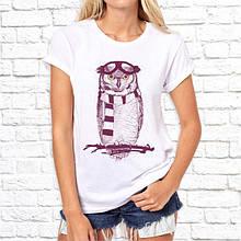 Женская футболка с принтом Сова пилот Push IT