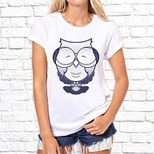 Женская футболка с принтом Совенок серый Push IT