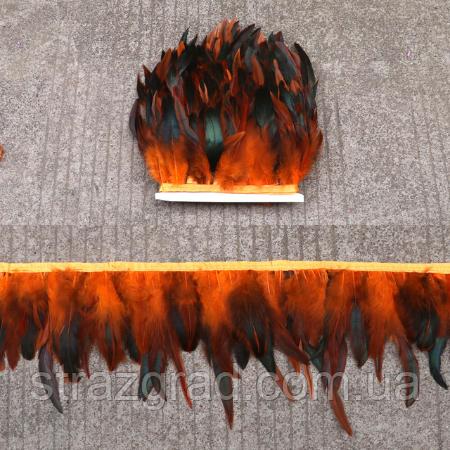 Пір'яна тасьма з пір'я півня Колір Помаранчевий Перо 16-20см Ціна за 0,5 м