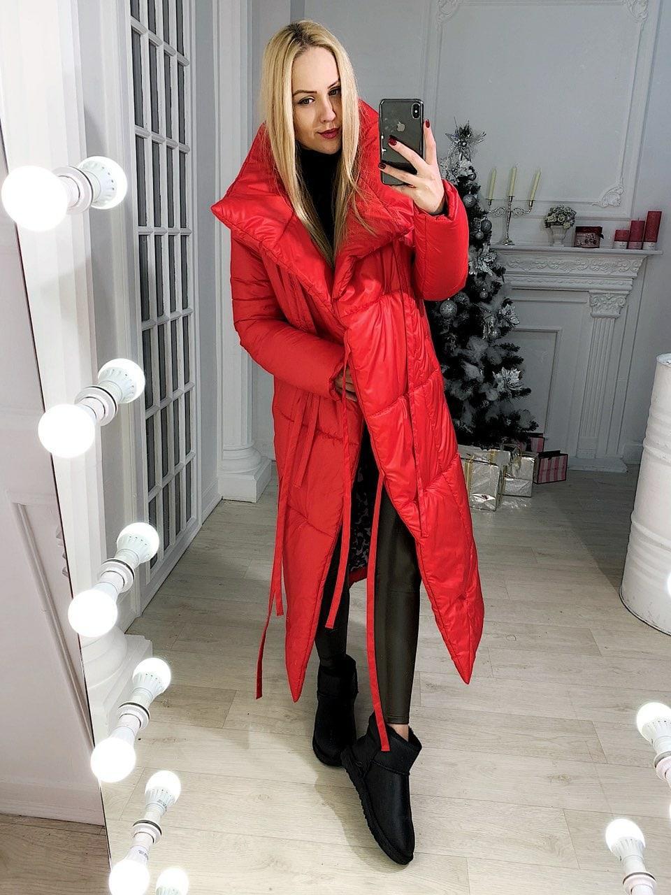 Пуховик-одеяло женское красное