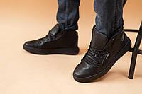 Мужские зимние кеды ботинки из натуральной кожи черные
