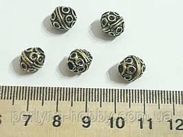 Фурнітура для біжутерії намистина металева . Діаметр 8  мм. Колір бронза. Ціна 5 штук комплект