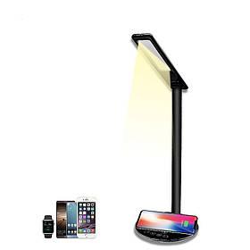 Настольная LED лампа с беспроводной зарядкой Qi светодиодная ЛЕД лампа черная