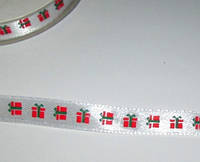Лента Подарки 1,2 см, белая
