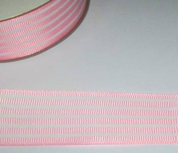 Репсова стрічка 2,5 см, біло-рожева смужка