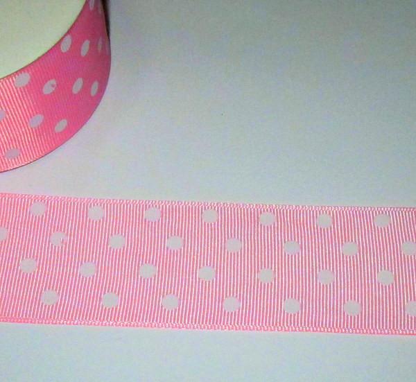 Лента репс Горошек 4 см, розовая