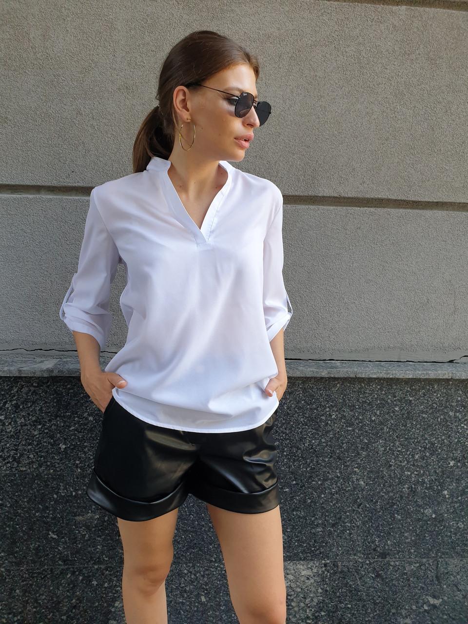 Женская свободная блуза из исофта с V-вырезом tez4513389