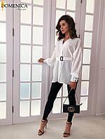 Женская белая удлиненная рубашка из софта с поясом tez3113391, фото 1