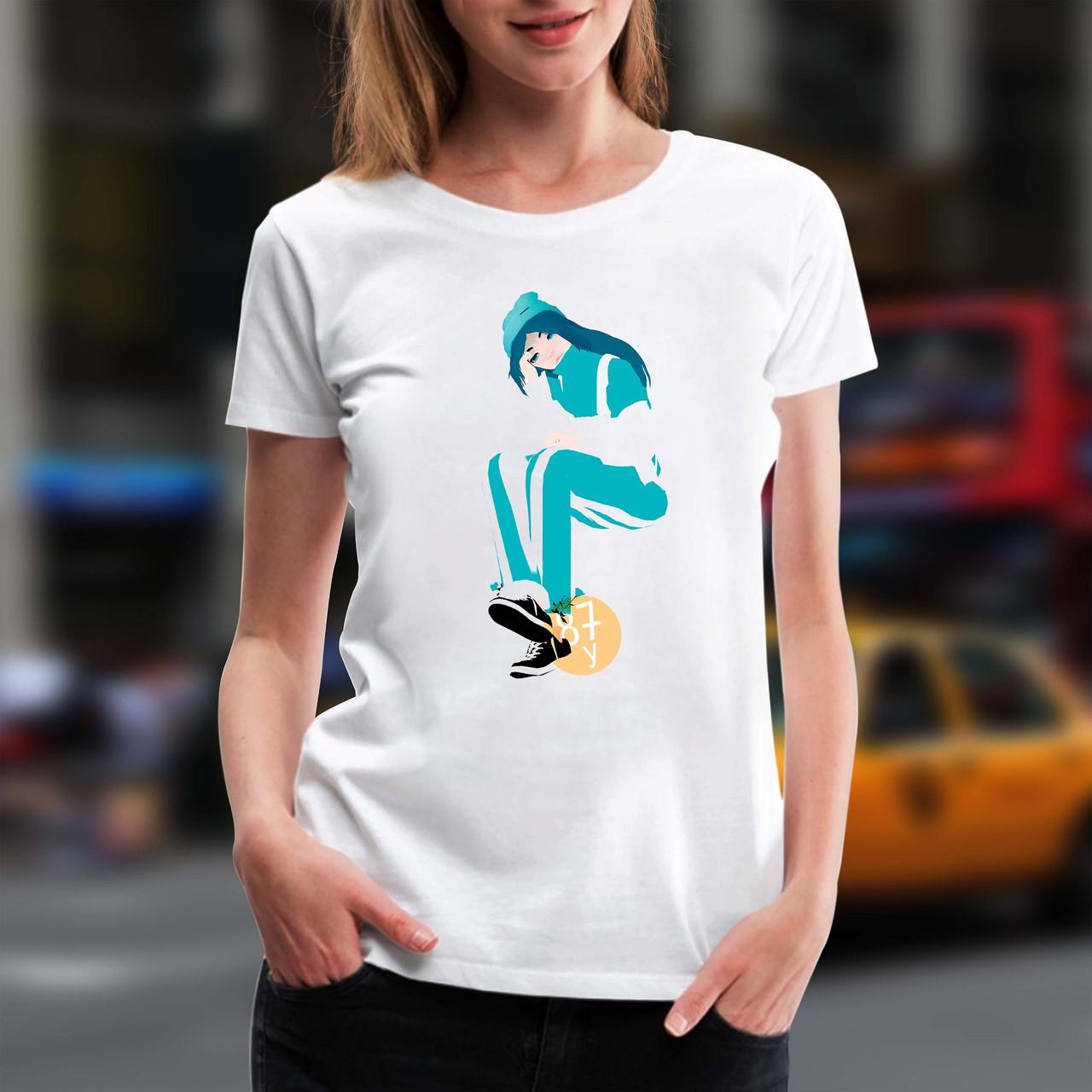 """Жіноча футболка з принтом """"Billie Eilish (Біллі Айлиш) мальована"""" Push IT XS, Білий"""
