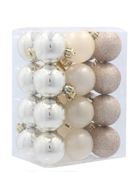 Набор пластиковых шаров, 24 шт., 3,5 см., цвет золотистый