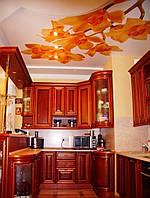 Натяжной потолок с печатью на кухне, фото 1