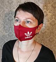 Маска Adidas Адидас многоразовая защитная Питта с принтом ткань Красная