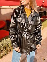 Женский кожаный пиджак - рубашка в черном цвете tez3109269, фото 1