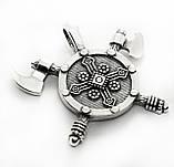 Кулон серебряный Две Секиры и Щит Викинга ПС-30 Б, фото 2