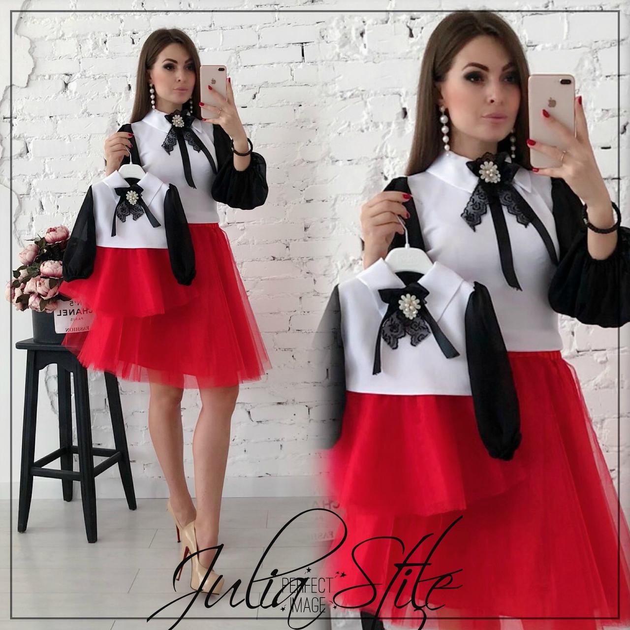 Женский костюм для мамы и дочки юбка из фатина и блуза tez282160