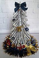 Новогодний сувенир- елка из макарон ручная работа  - серебряная подарок на Новый год 2019, фото 1