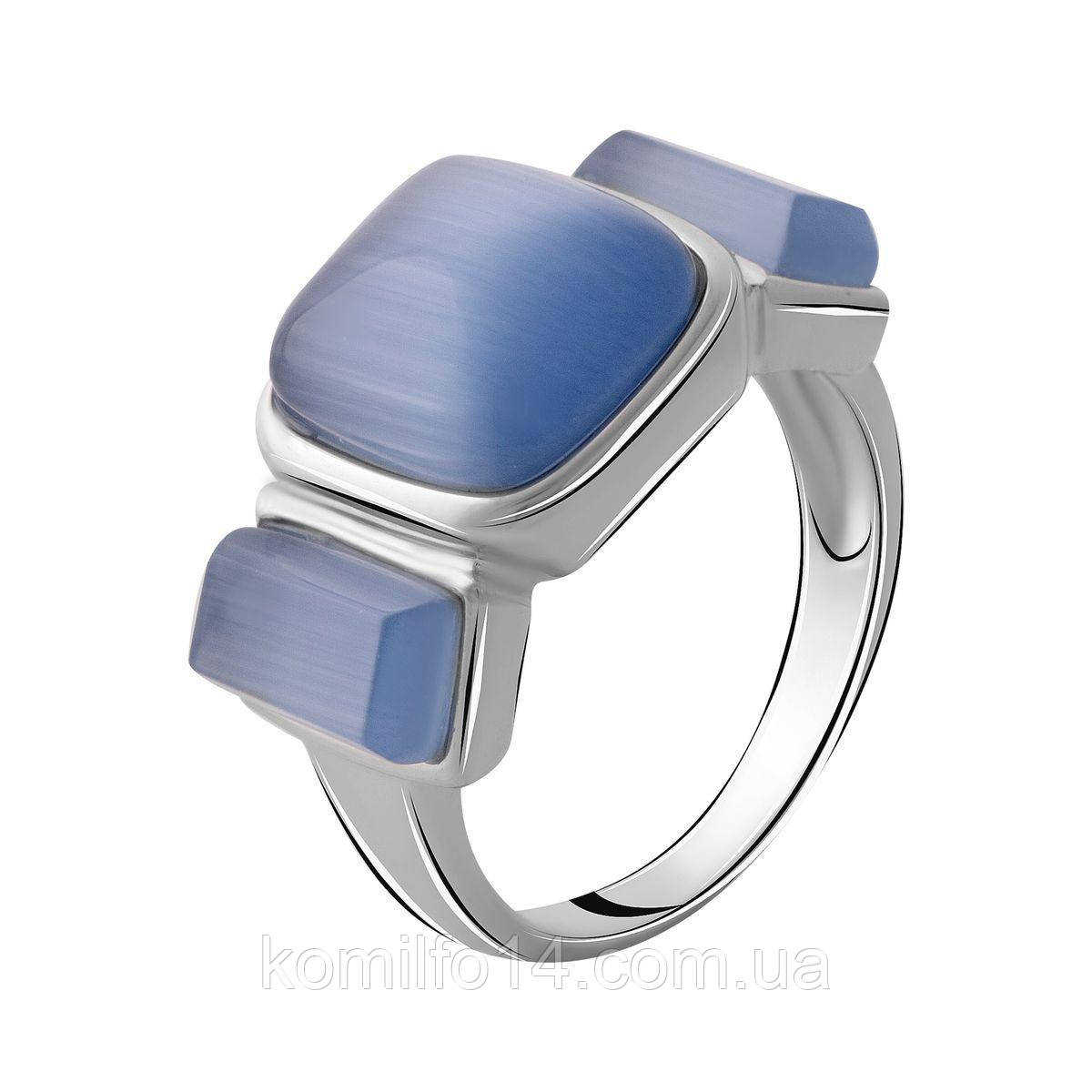 Серебряное кольцо с натуральным кошачьим глазом