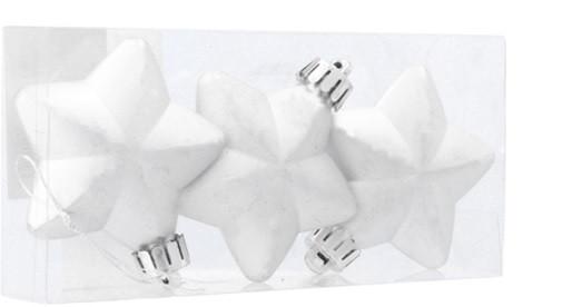"""Елочные пластиковые украшения """"Звезда"""", 3шт., 6 см., цвет серебристый"""
