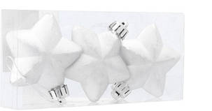 """Елочные пластиковые украшения """"Звезда"""", 3шт., 6 см., цвет серебристый, фото 2"""