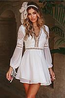 Шифоновое белое платье с расклешенной юбкой и вырезом на спине tez48031360, фото 1