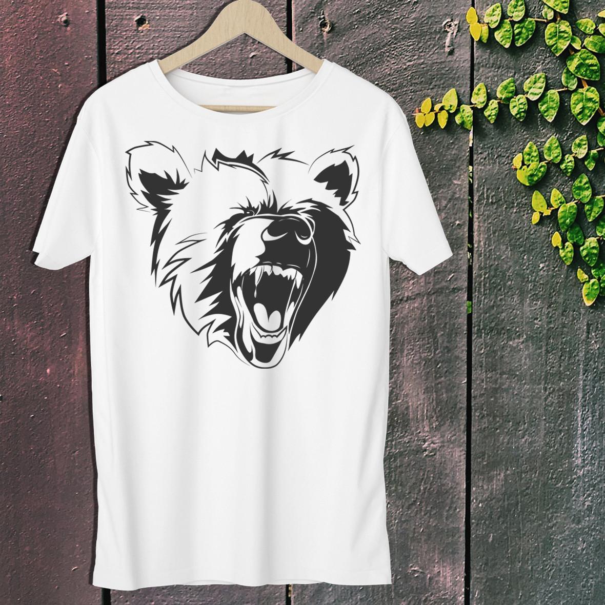 """Чоловіча футболка для мисливця з принтом """"Голова Ведмедя"""" 3 Push IT S, Білий"""