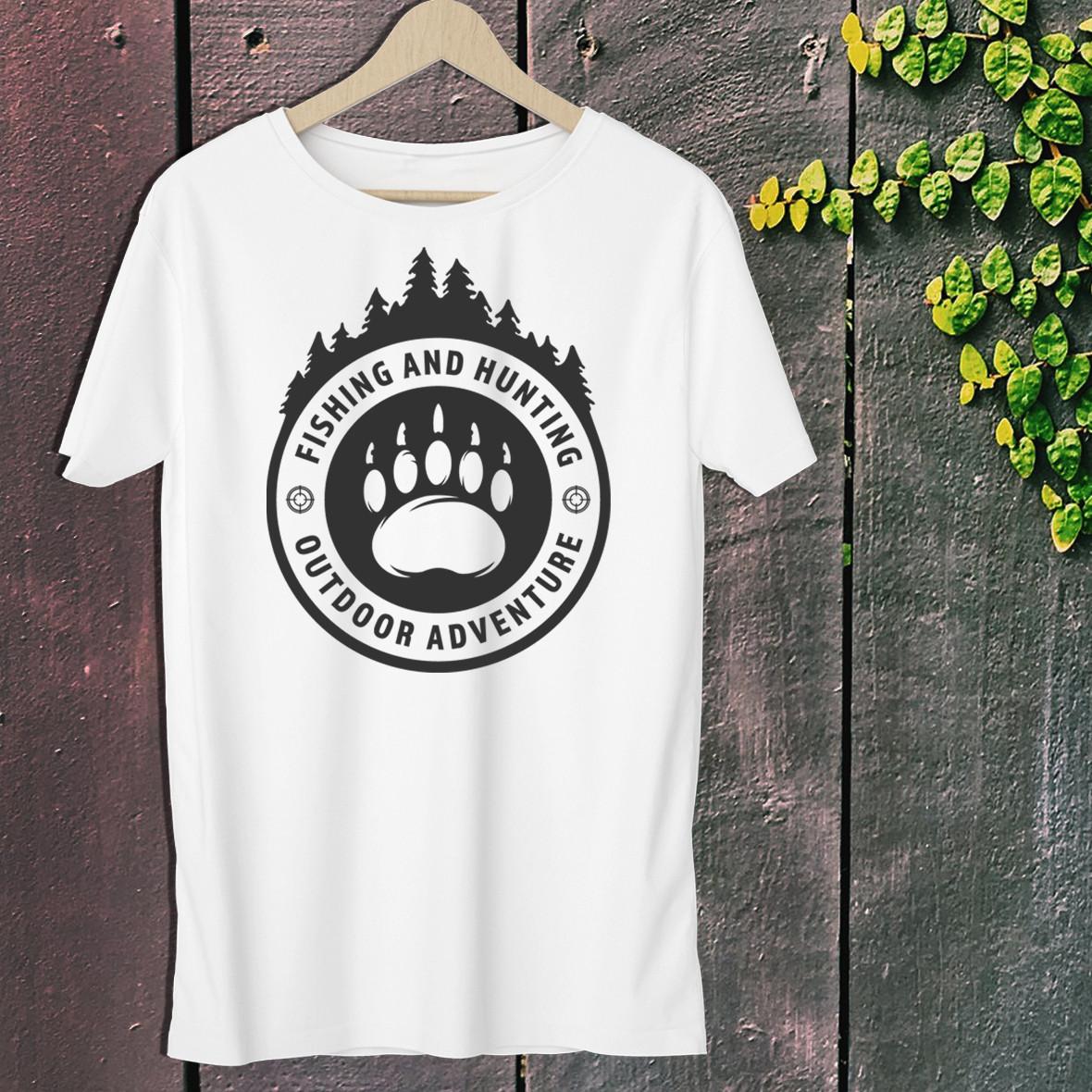"""Мужская футболка для охотника с принтом """"Hunting & Fishing outdoor adventure"""" Push IT Белый"""