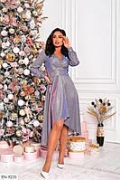 Нарядное ассиметричное красивое трикотажное блестящее платье с люрексом Размер: 48-50, 52-54 арт 391