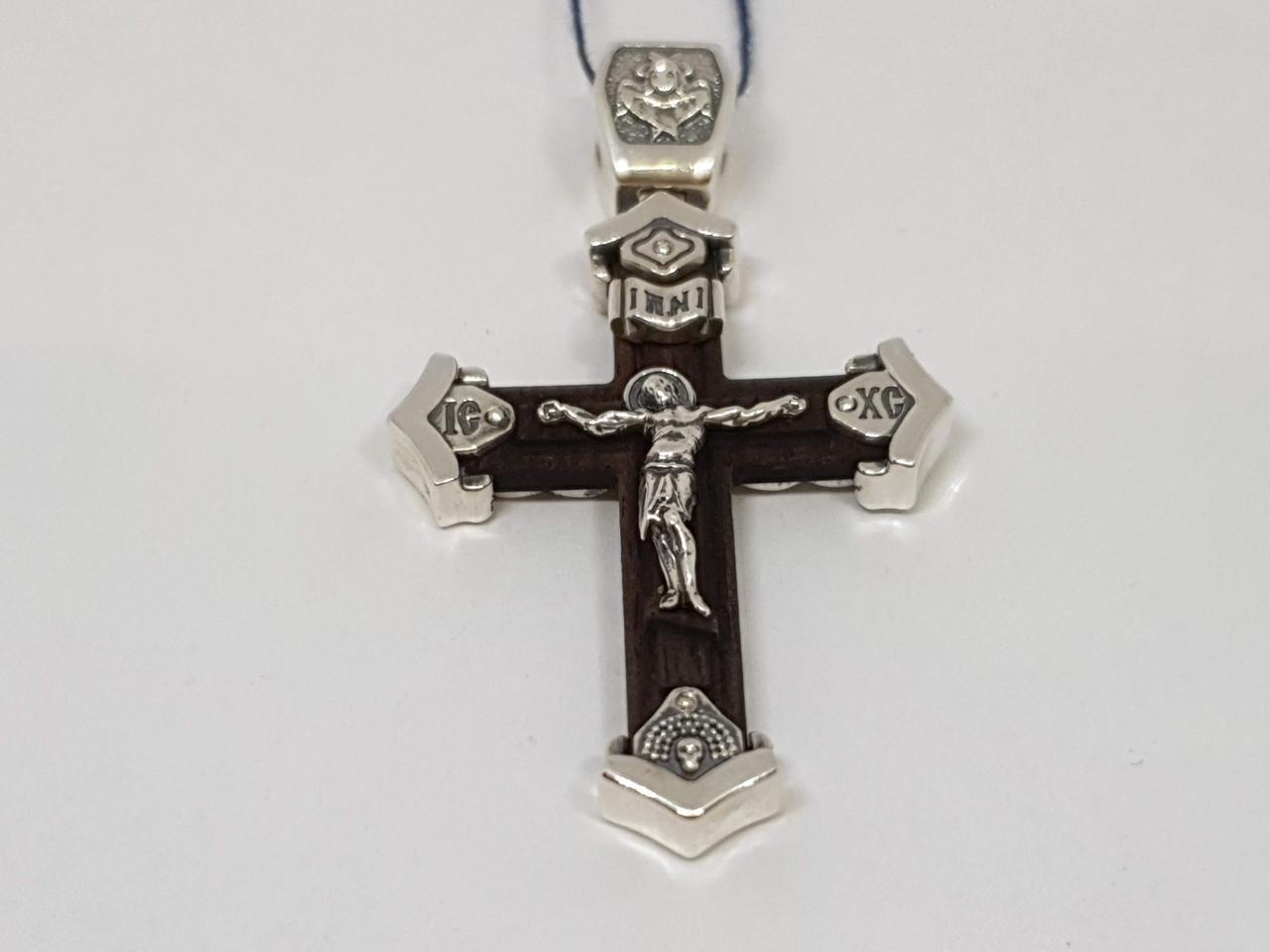 Серебряный крест Распятие Христа с эбеновым деревом. Артикул 2053