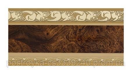 Лента декоративная на карниз, бленда Ажур 3 Карельская береза бежевая 70 мм на усиленный потолочный карниз КСМ