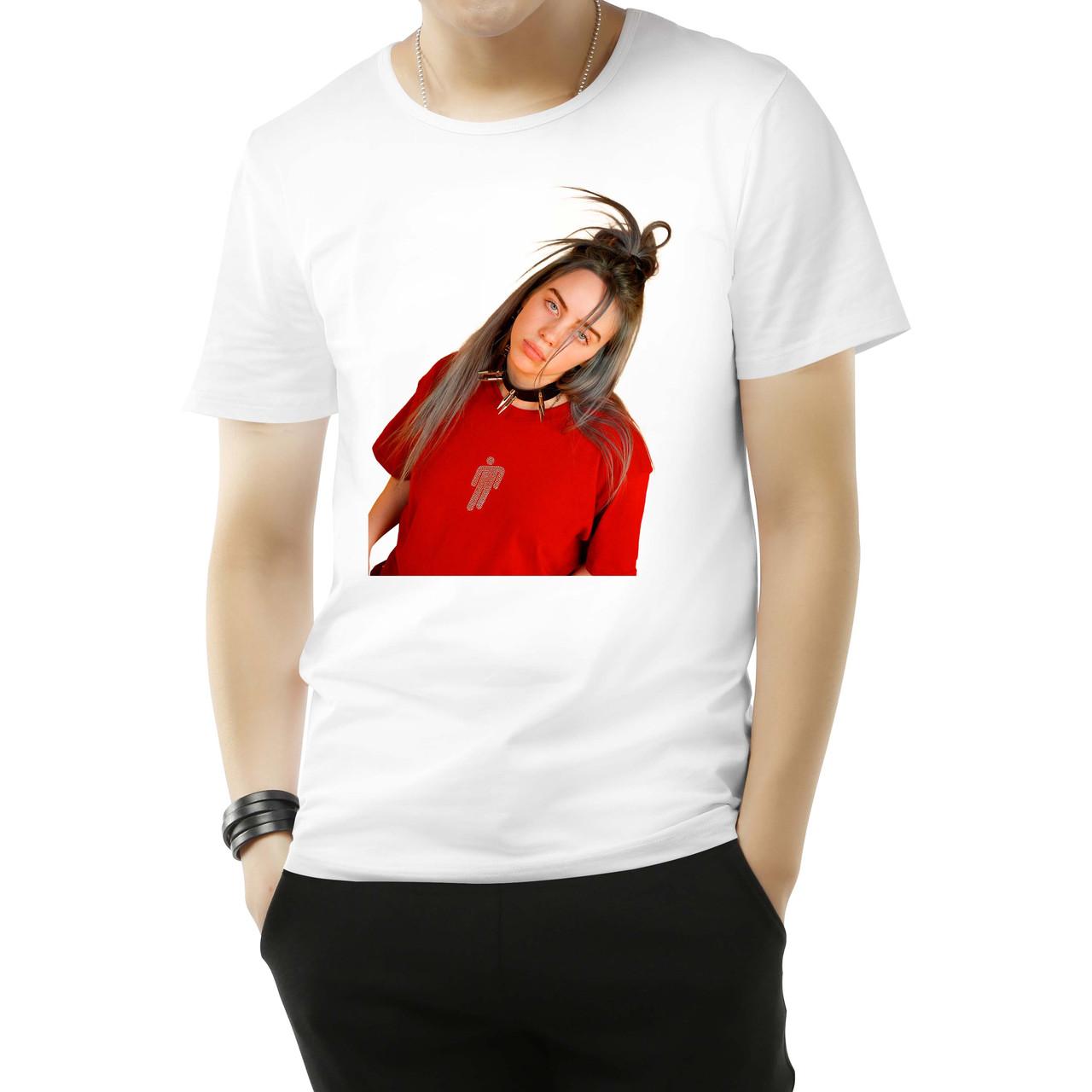 """Чоловіча футболка з принтом """"Billie Eilish (Біллі Айлиш) в червоному"""" Push IT S, Білий"""