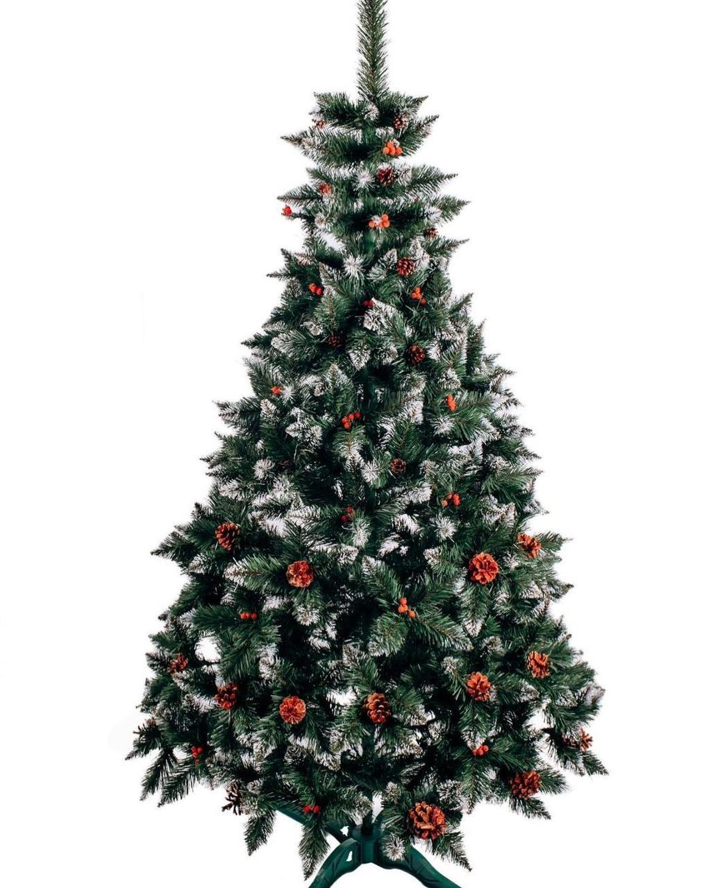 """Ялинка штучна ПВХ """"Різдвяна"""" Елітна з білими кінчиками шишками і калиною 1 м"""