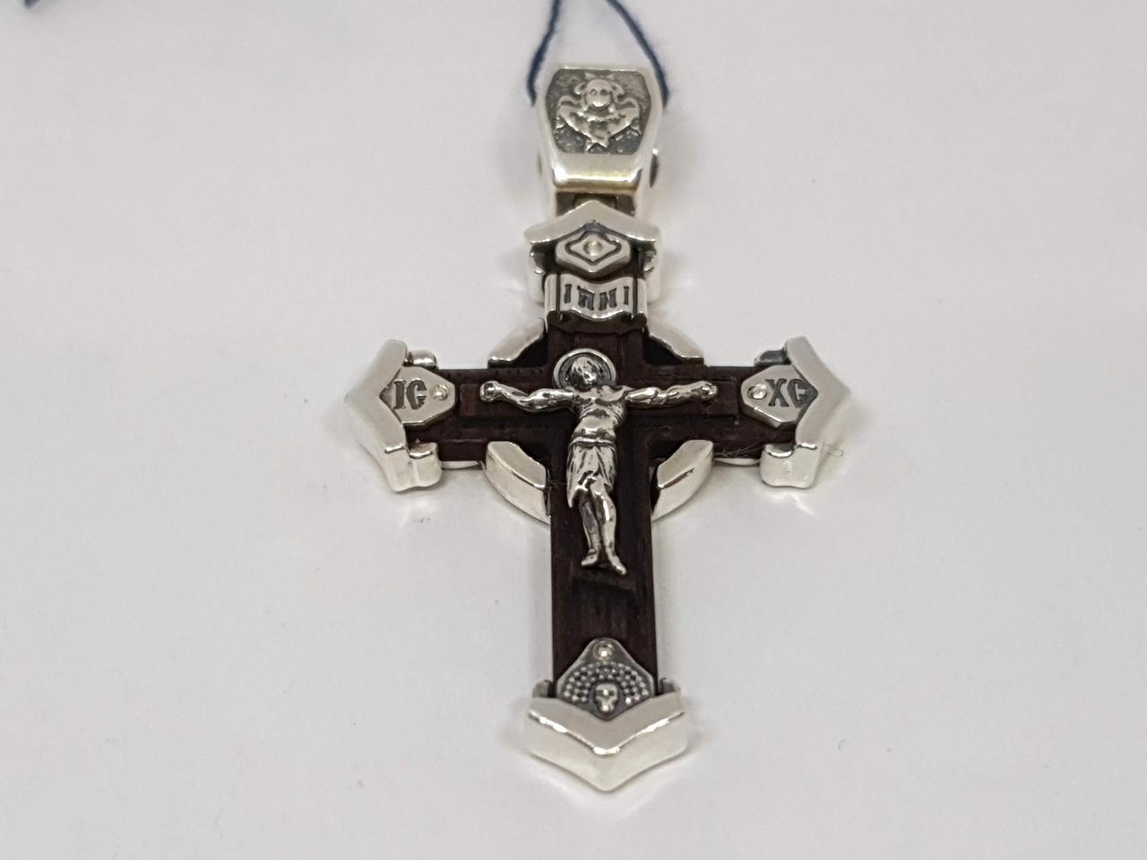 Серебряный крест Распятие Христа с эбеновым деревом. Артикул 2052
