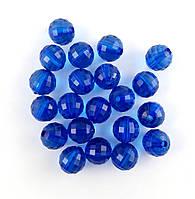 Пластиковая бусина, граненый шар, синяя 12 мм, 500 г