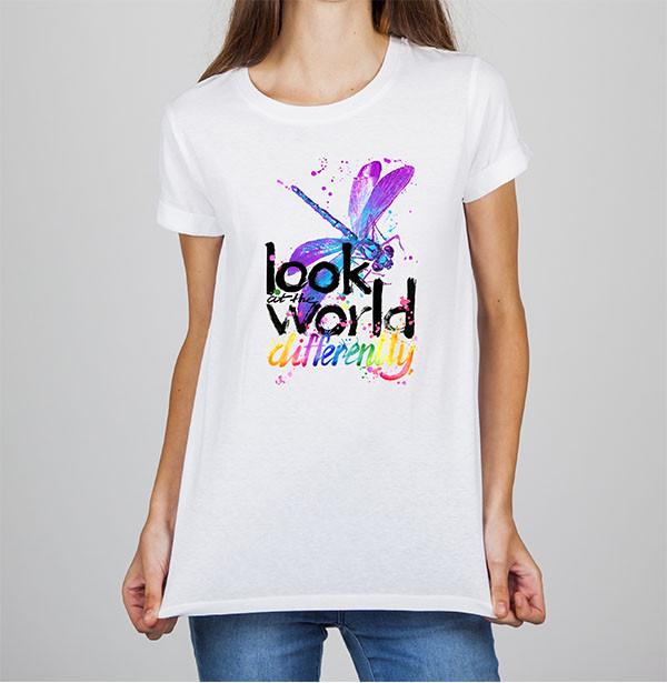 "Женская футболка с принтом Стрекоза ""Look at the world differently"" Push IT"